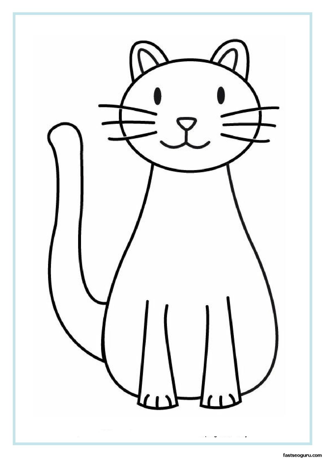 Printable Christmas Cat Coloring Pages With Of Cats Page