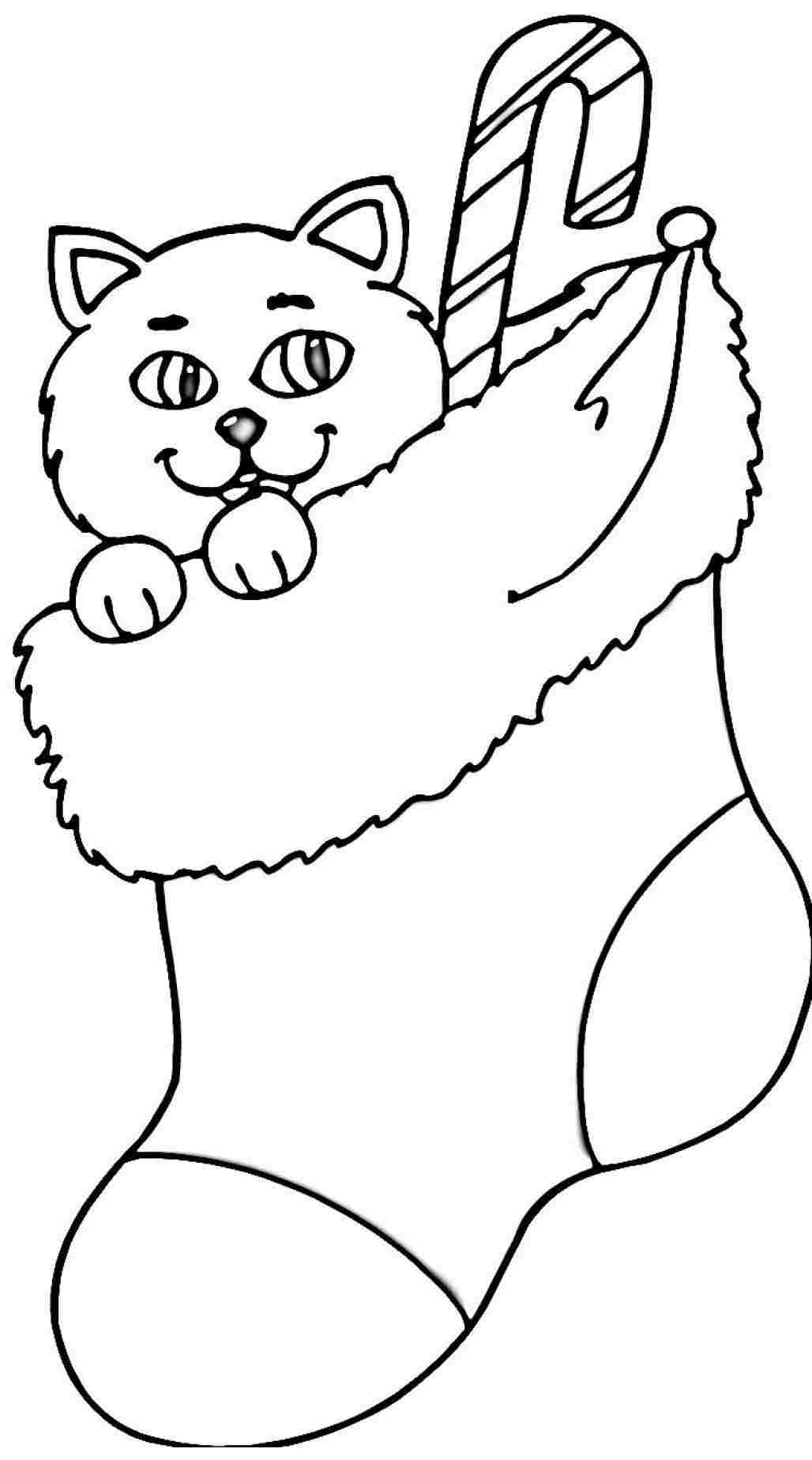 Printable Christmas Cat Coloring Pages With Stocking Page On Dltk Archives And Auto In