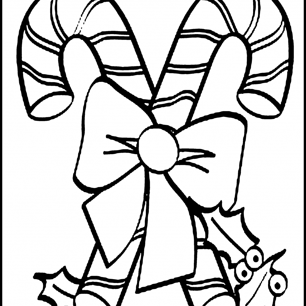 Printable Christmas Coloring Pages Candy Canes With Free Cane For Kids Young At Heart