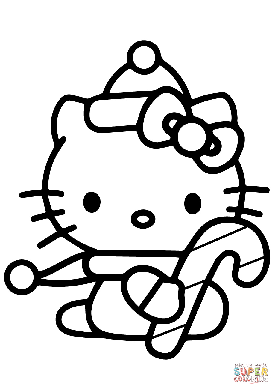 Printable Christmas Coloring Pages Candy Canes With Hello Kitty Cane Page Free