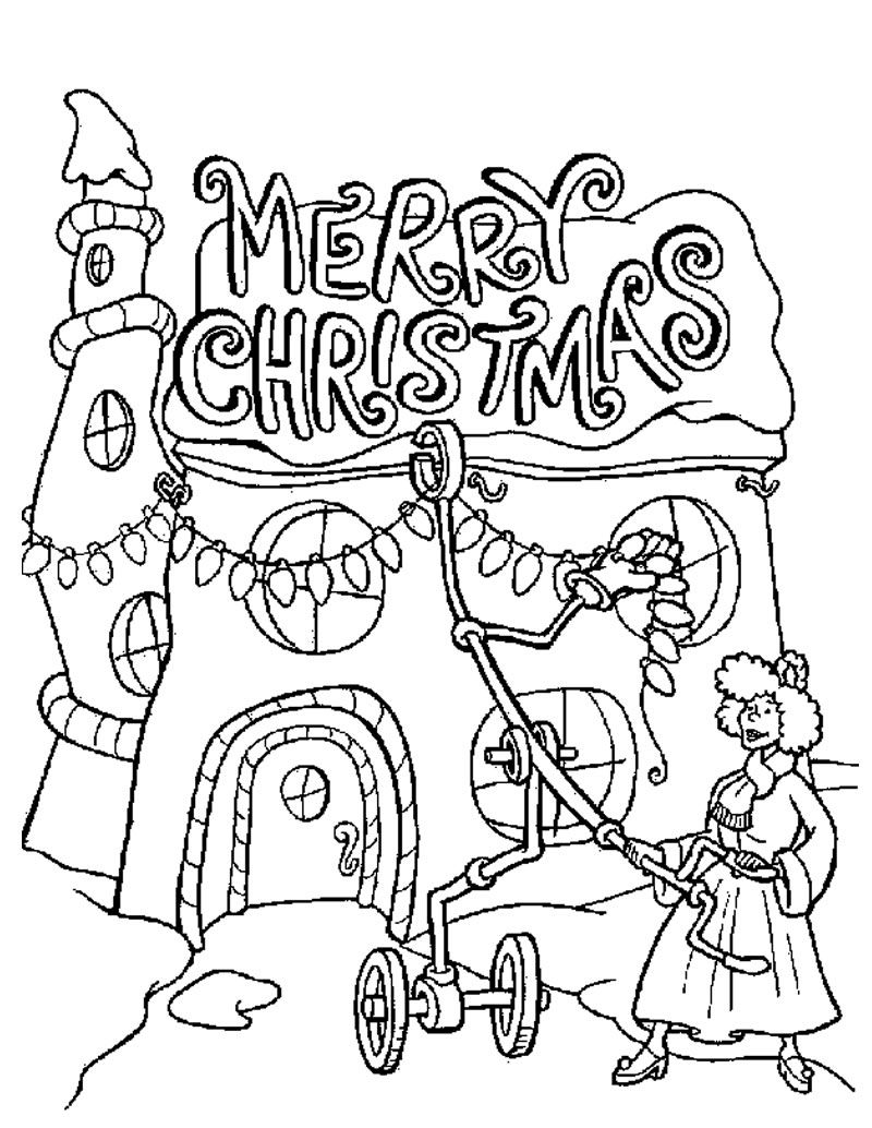 Printable Christmas Coloring Pages Grinch With Lights Teacher Pinterest
