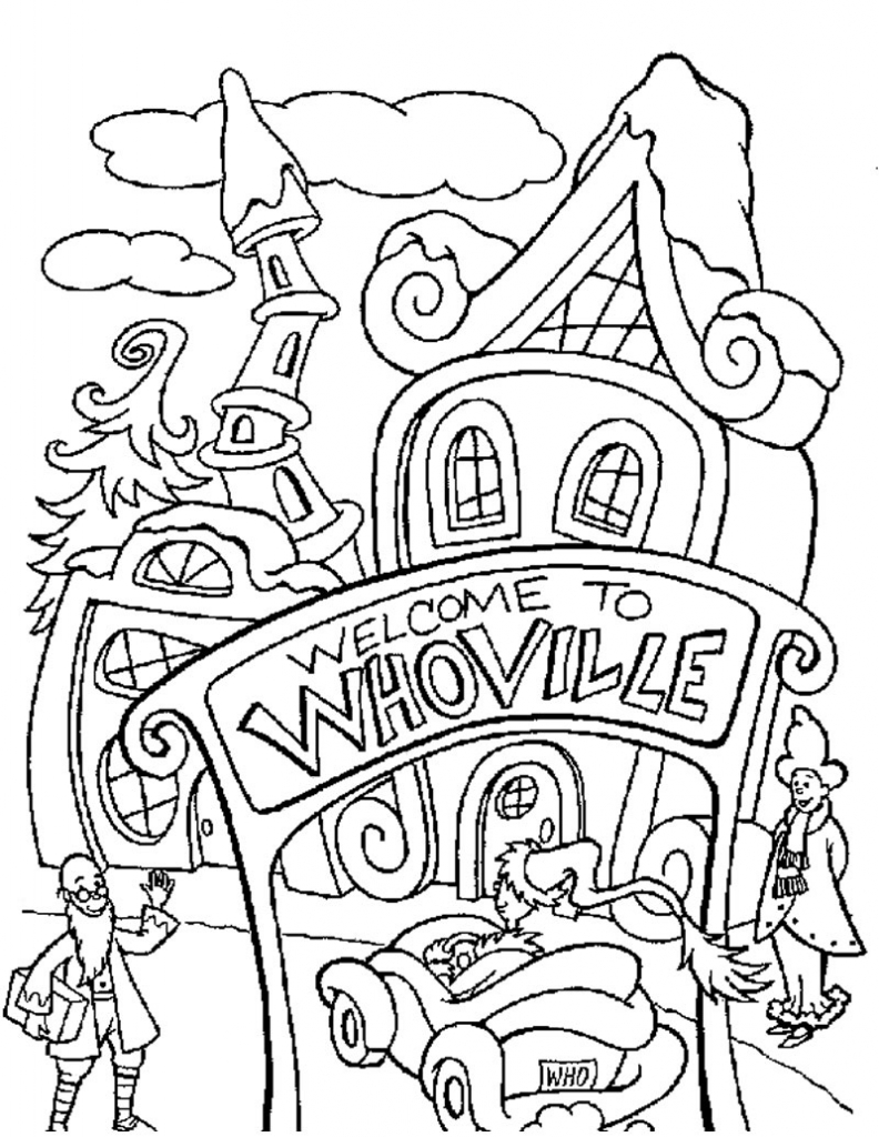 Printable Christmas Coloring Pages Grinch With The Free Library