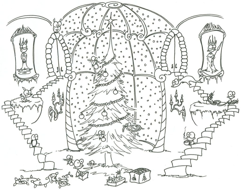Printable Christmas Coloring Pages Hard With Colouring For Adults Archives