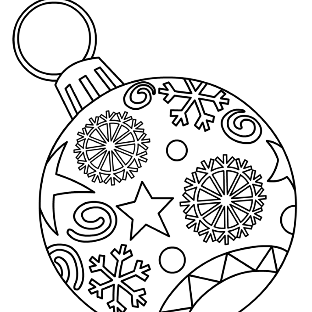 Printable Christmas Coloring Pages Hard With Ornaments Free For Kids Paper