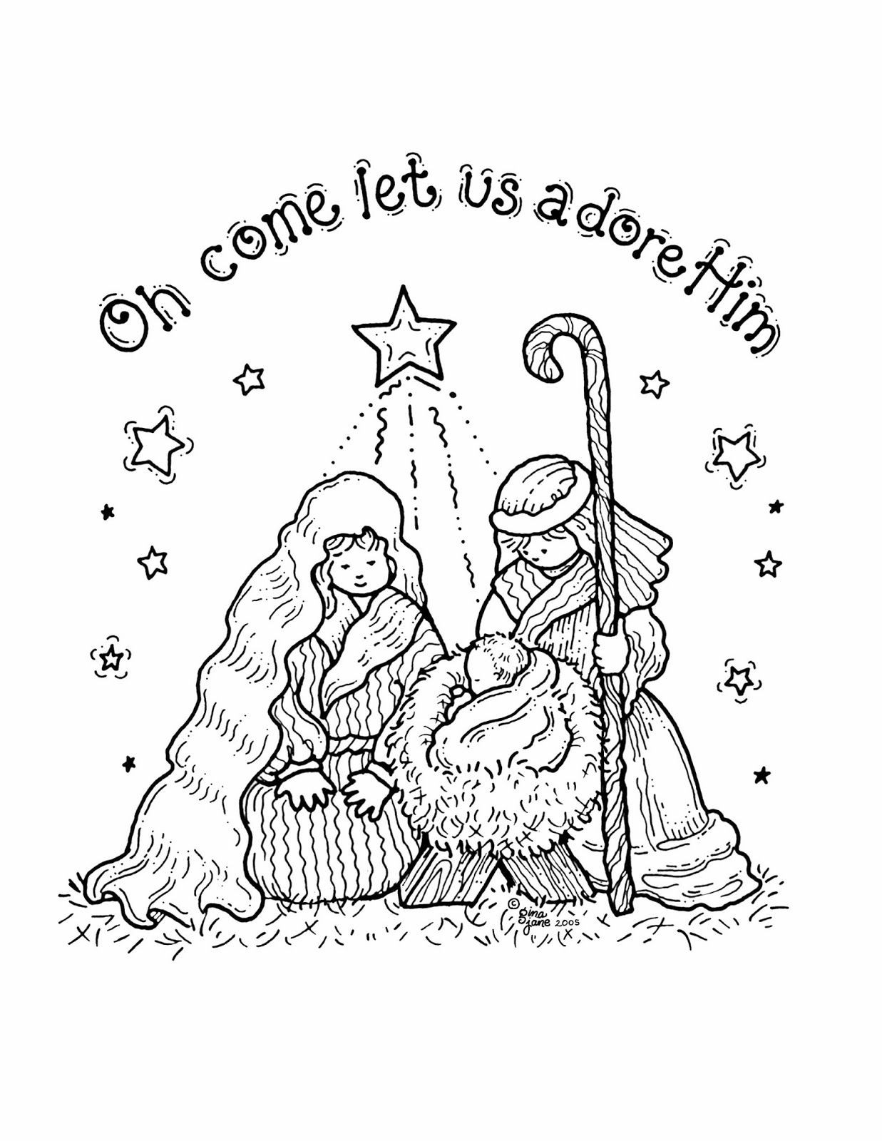 Printable Christmas Coloring Pages Nativity Scene With Medquit COLORING PAGES Precious Moments Color