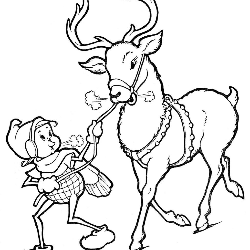 Printable Christmas Coloring Pages Reindeer With Line Art Elf The Graphics Fairy