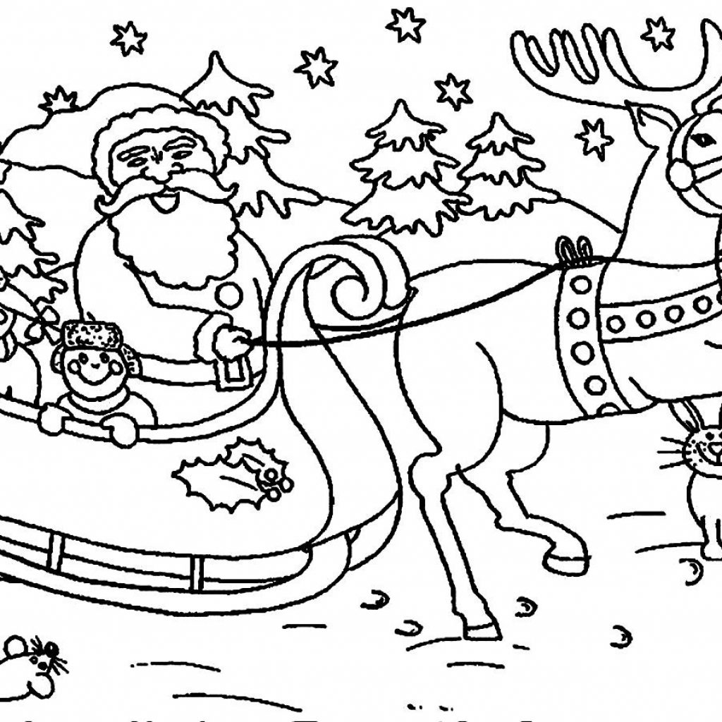 Printable Christmas Coloring Pages Reindeer With Santa Claus Sleigh ColoringStar