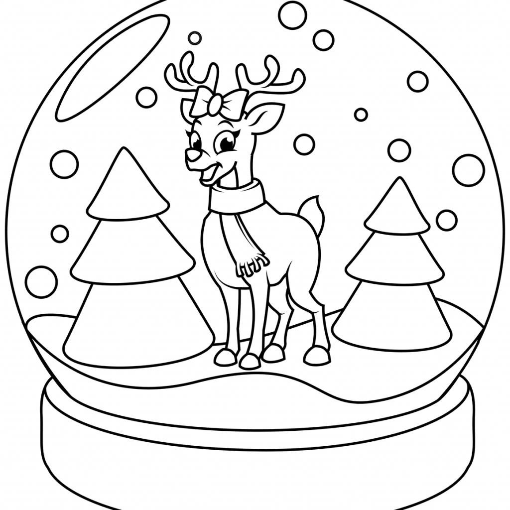 Printable Christmas Coloring Pages Reindeer With Snow Globe Page Free