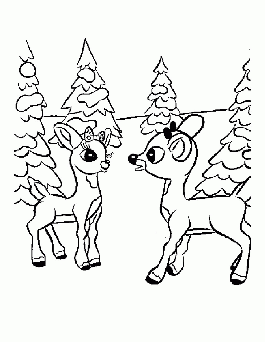 Printable Christmas Coloring Pages Reindeer With Unique Cartoon Design