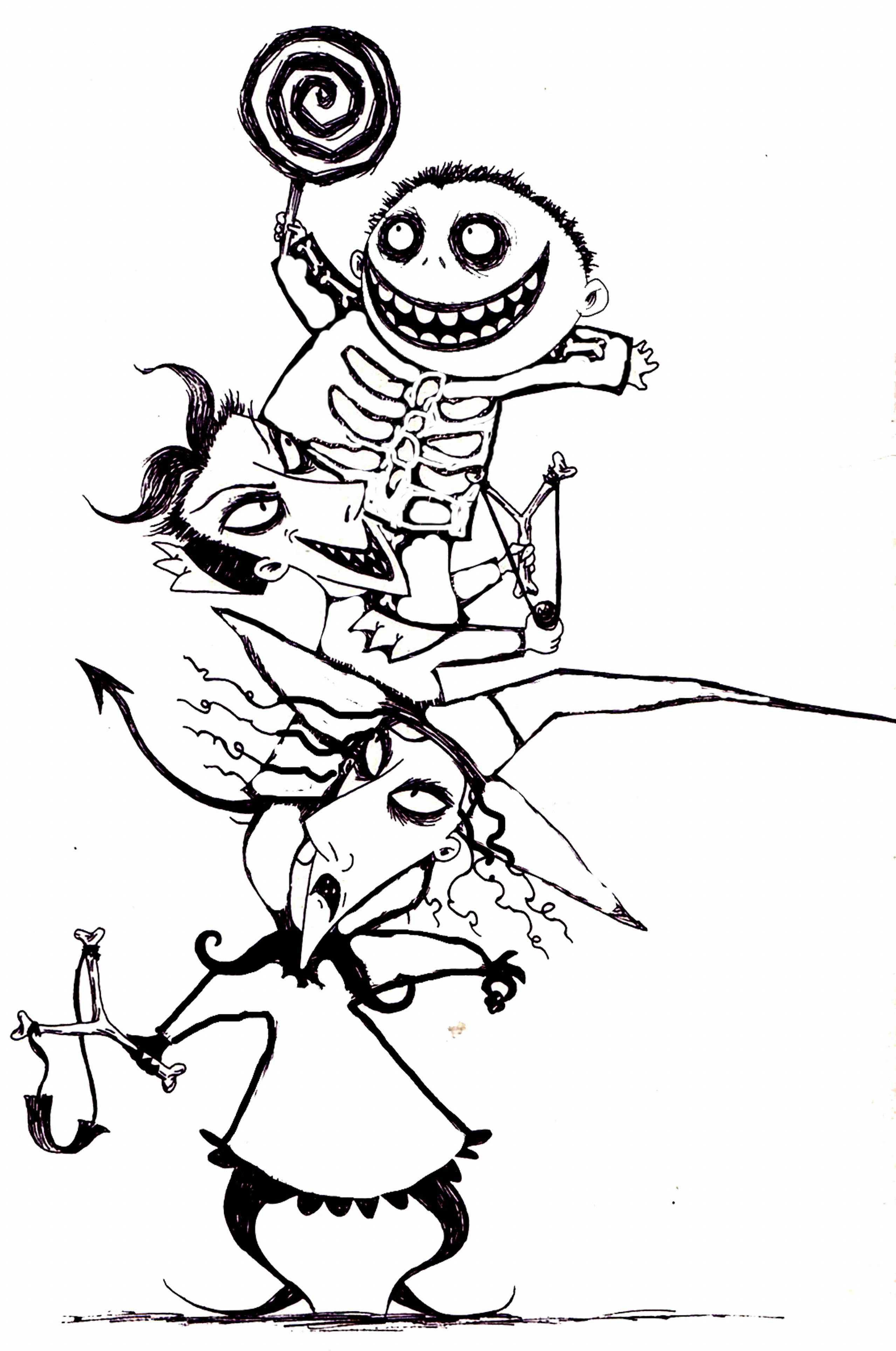 Printable Christmas Coloring Pages With Free Nightmare Before Best