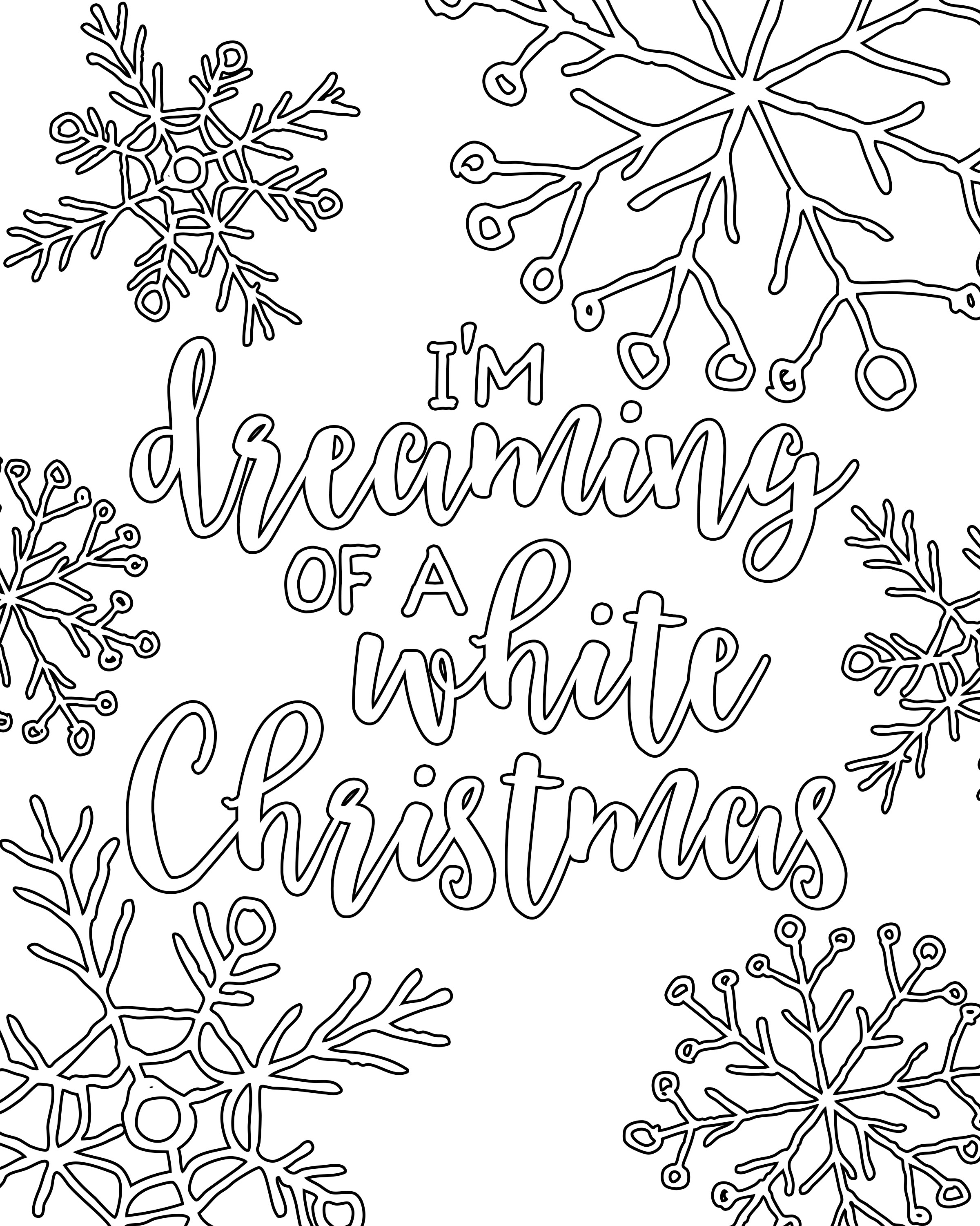 Printable Christmas Coloring Pages With Free White Adult Our