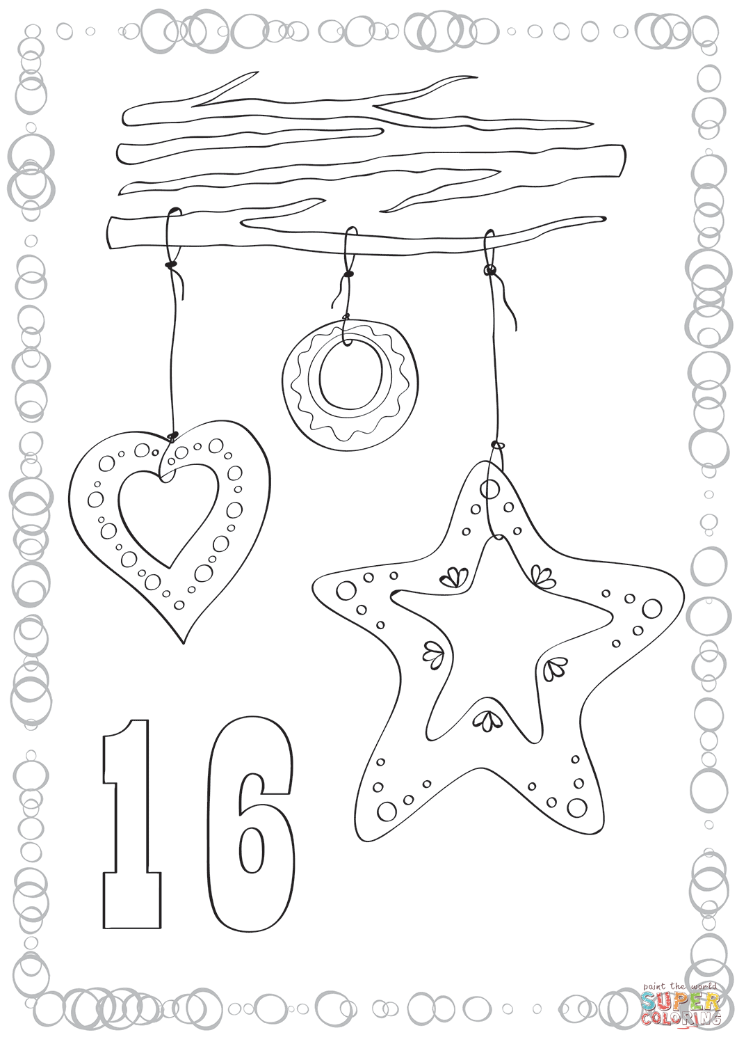 Printable Christmas Cookie Coloring Pages With December 16 Cookies Page Free
