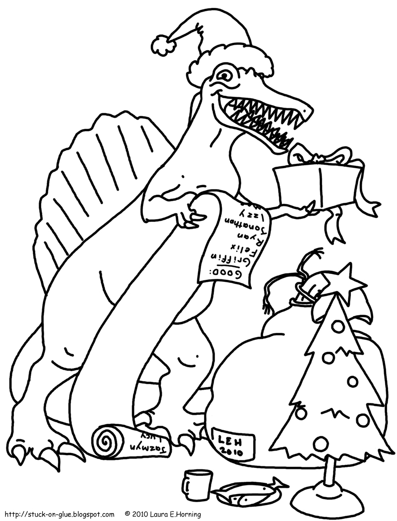 Printable Christmas Dinosaur Coloring Pages With