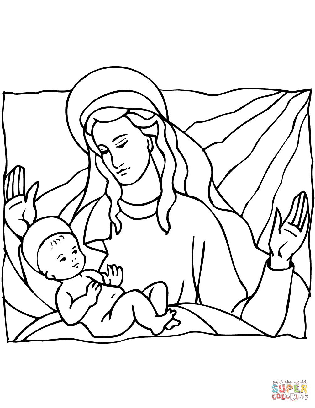 Printable Christmas Jesus Coloring Pages With Mary And Baby Page Free
