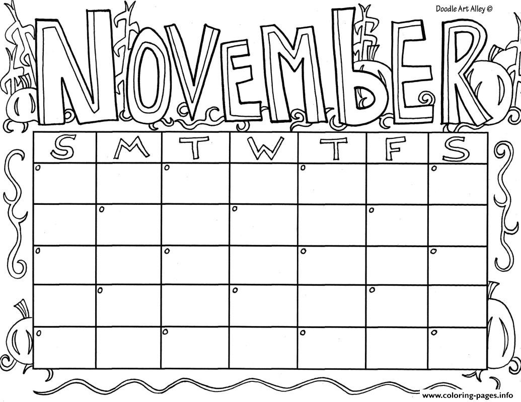 Printable Coloring Calendar 2019 With Color November Pages