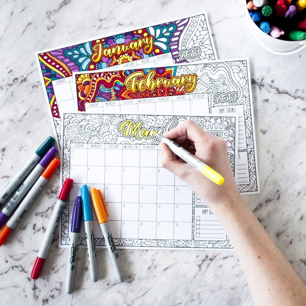 Printable Coloring Calendar 2019 With Free Ads Colour Other Pinterest