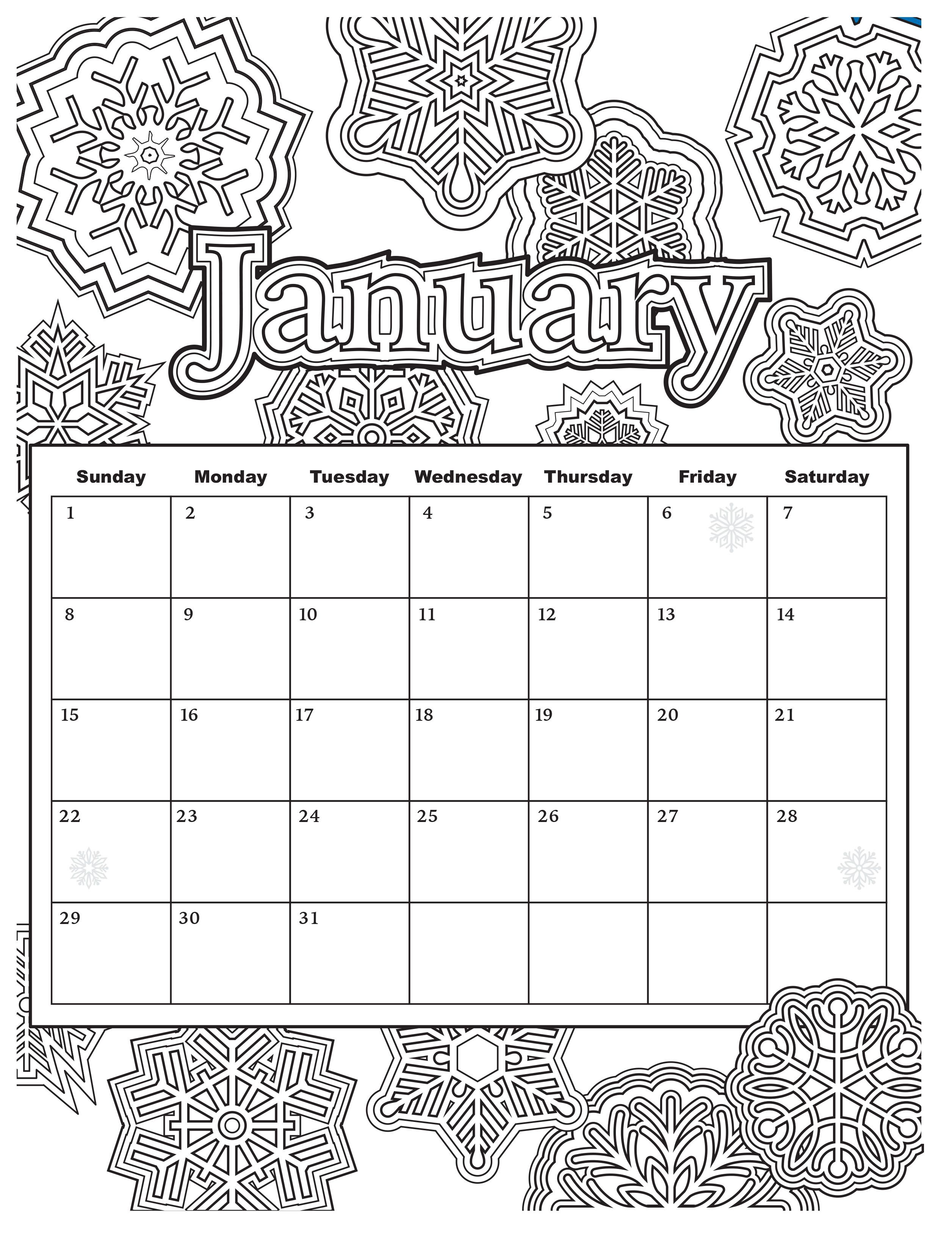 Printable Coloring Calendar 2019 With Free Download Pages From Popular Adult Books