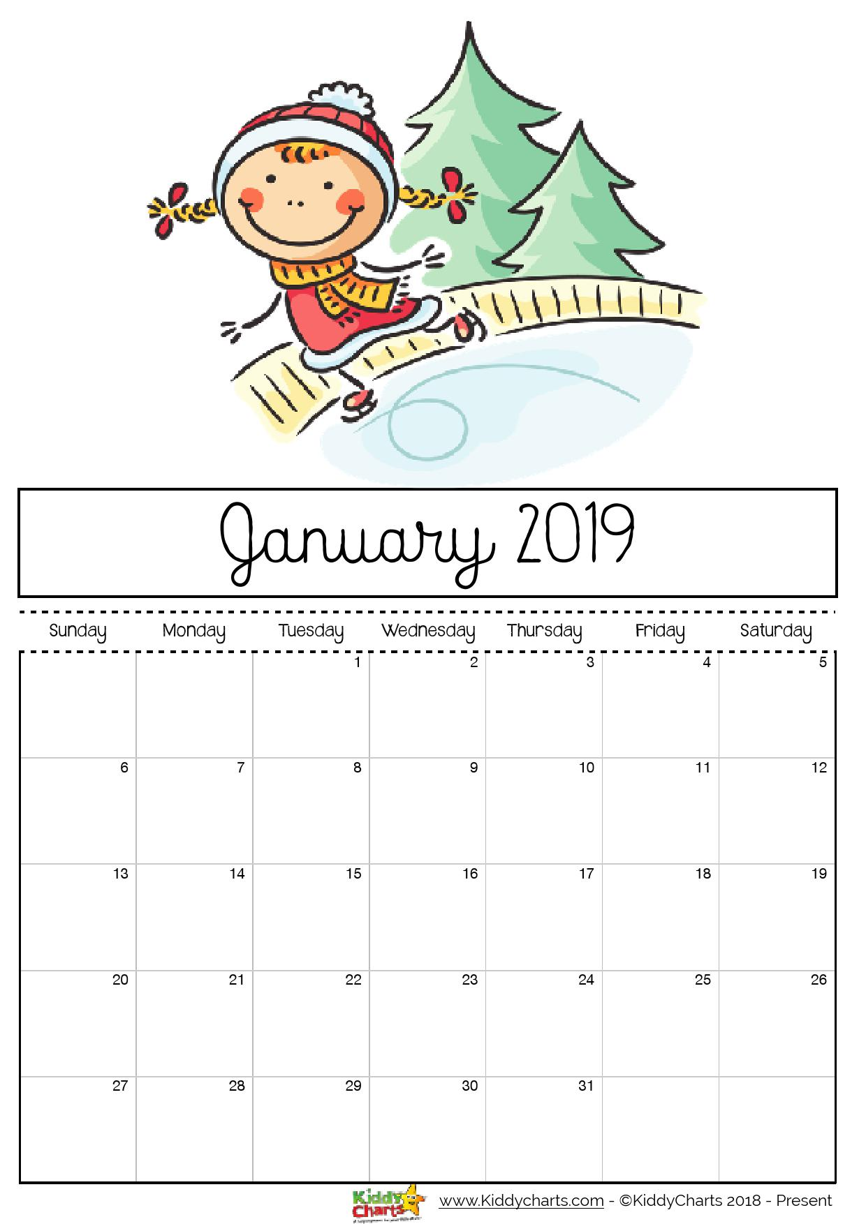 Printable Coloring Calendar 2019 With Free For Kids