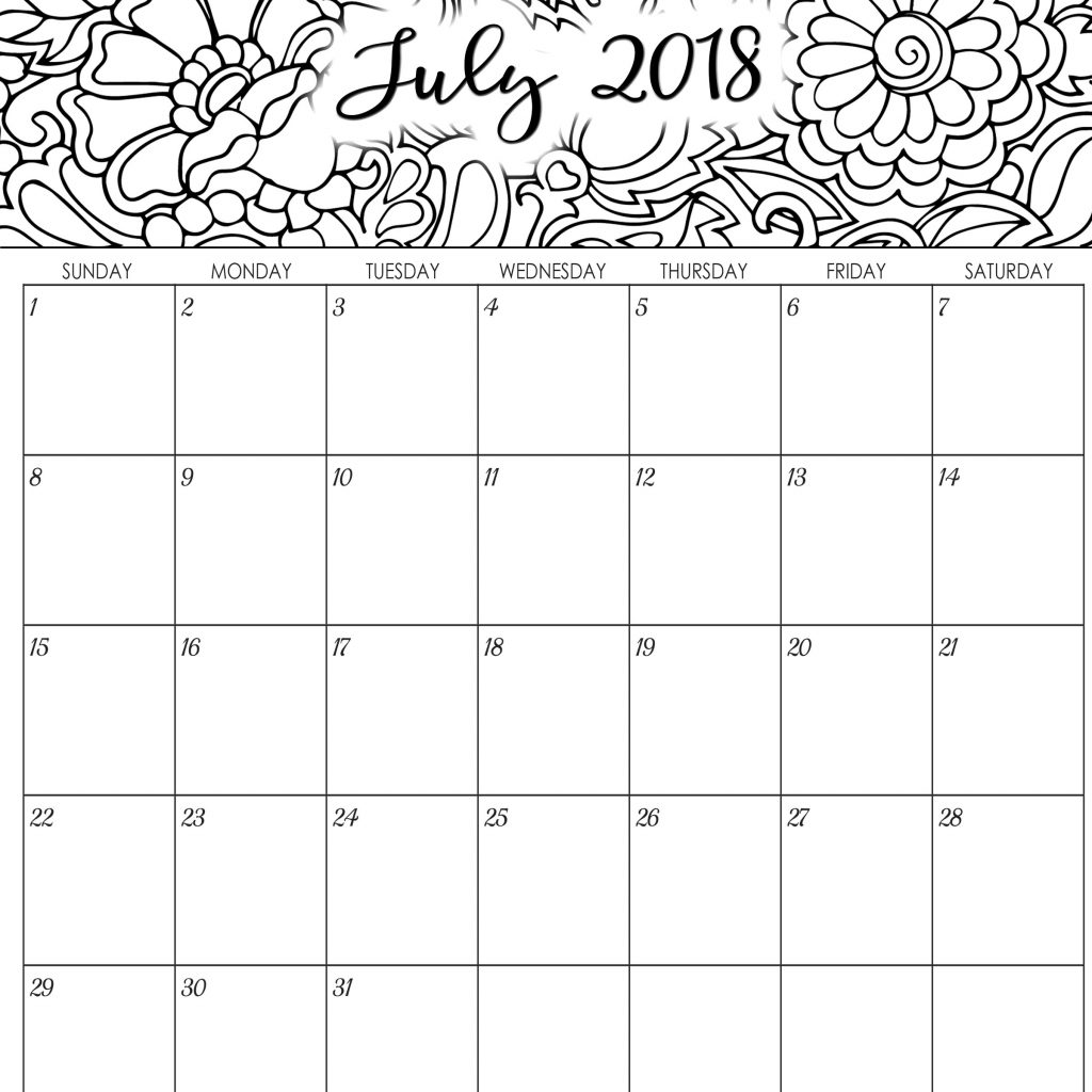 Printable Coloring Calendar 2019 With Monthly And Yearly Planner 2018 Part 31