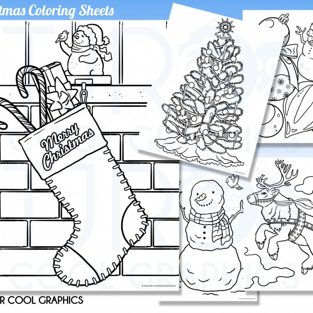 Realistic Christmas Coloring Pages With Sheets Kids Digital JPG Etsy