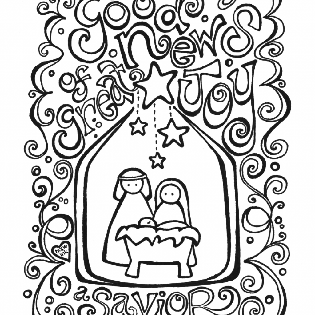 Religious Christmas Card Coloring Pages With Free Nativity Page Activity Placemat Fab N