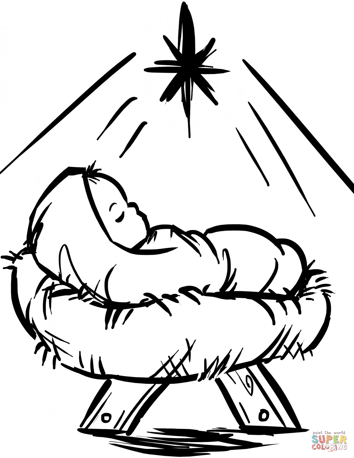 Religious Christmas Coloring Pages Jesus With Baby Manger Scene Page From