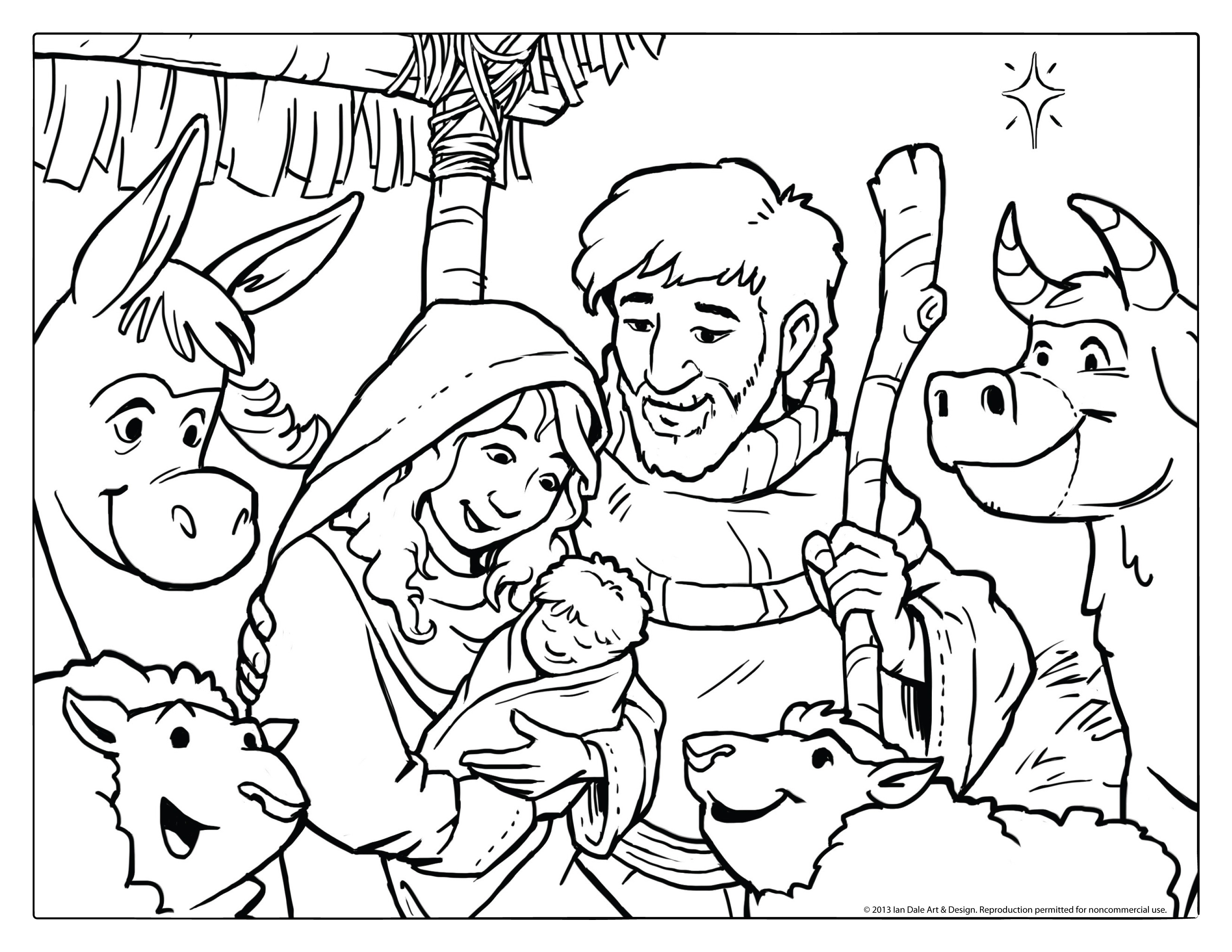 Religious Christmas Coloring Pages Jesus With Baby Printable Fresh Free