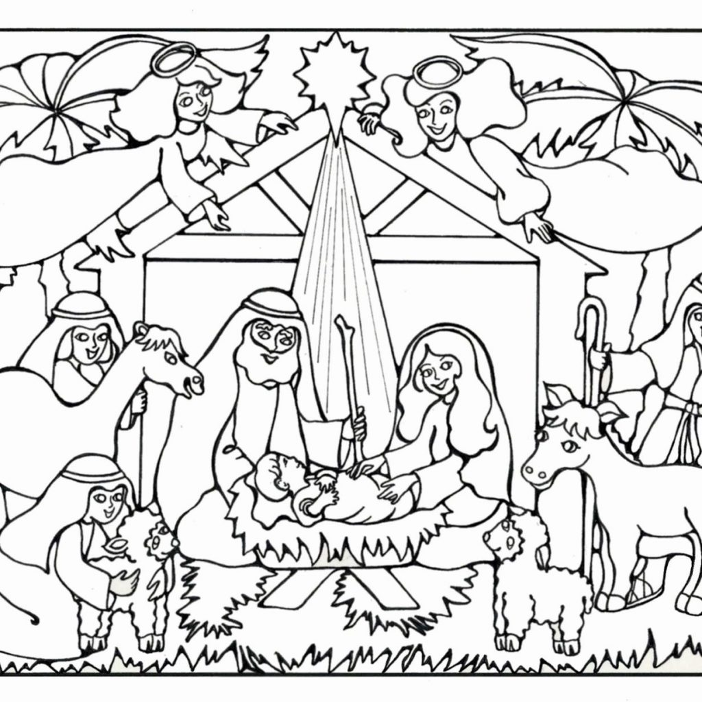 Religious Christmas Coloring Pages Jesus With Christian Beautiful Baby Manger For