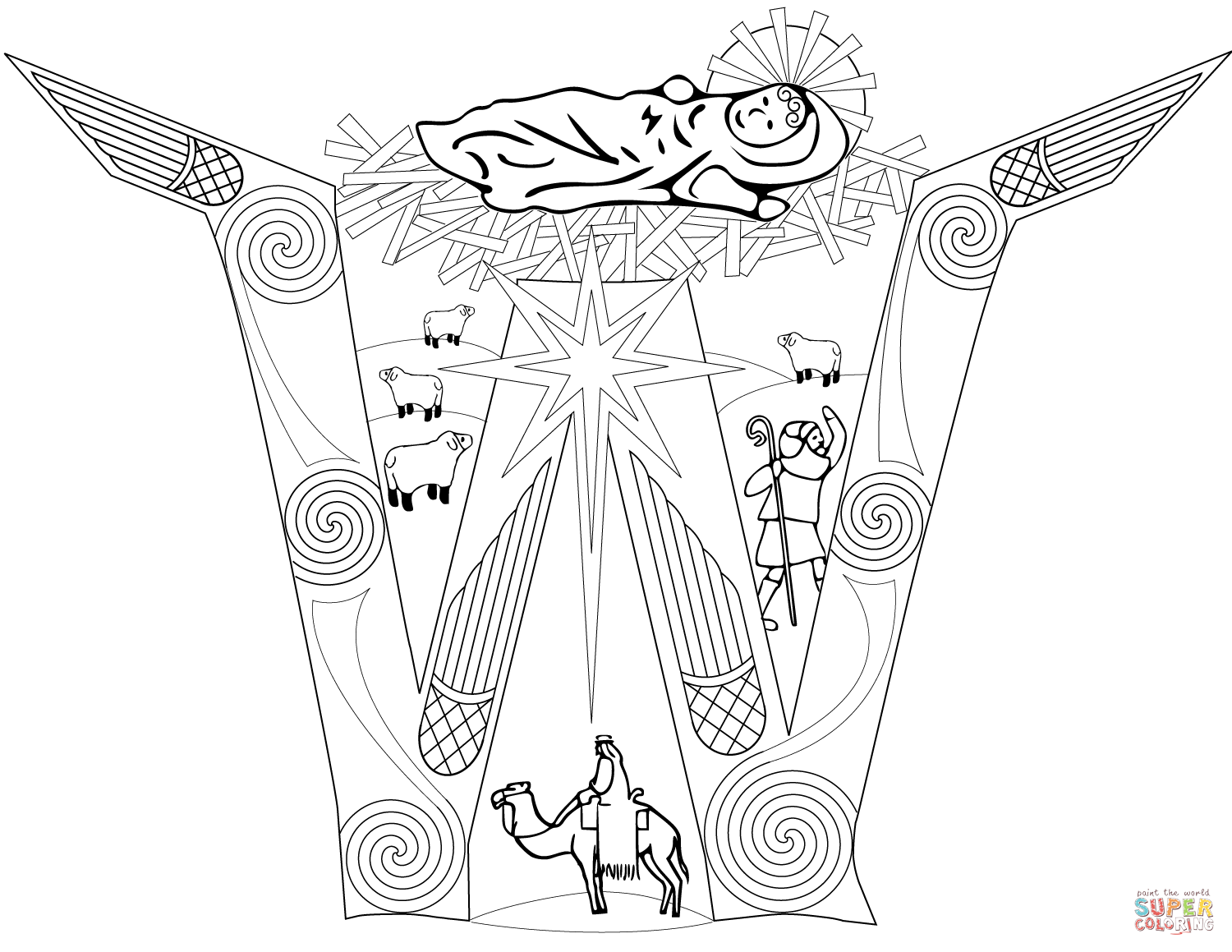 Religious Christmas Coloring Pages To Print With Free And Yintan Me