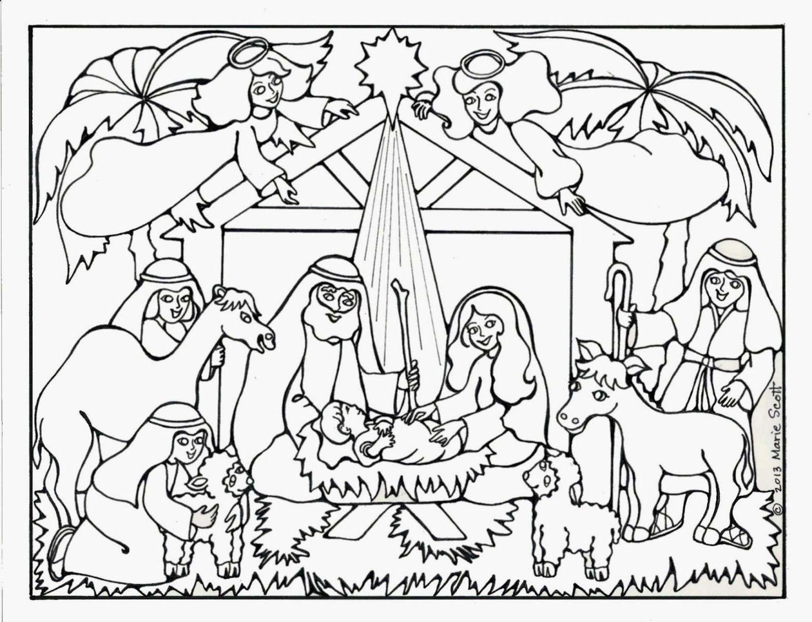Religious Christmas Coloring Pages To Print With Wikie Cloud Design Ideas