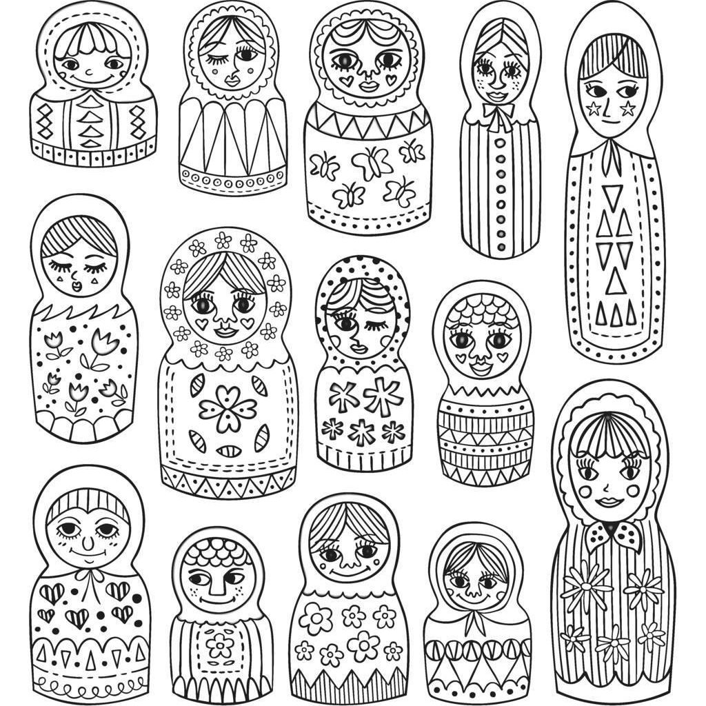 Russian Christmas Coloring Pages With Adult Cute Dolls Printable