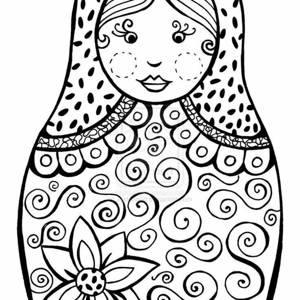 Russian Christmas Coloring Pages With Babushka Dolls Printable