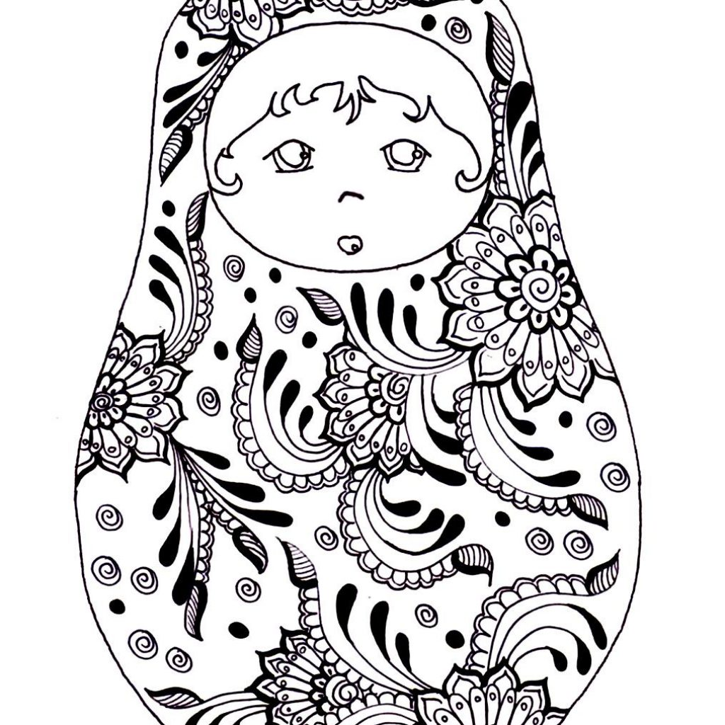 Russian Christmas Coloring Pages With Free Printable Adult Colouring Page Dolls Source
