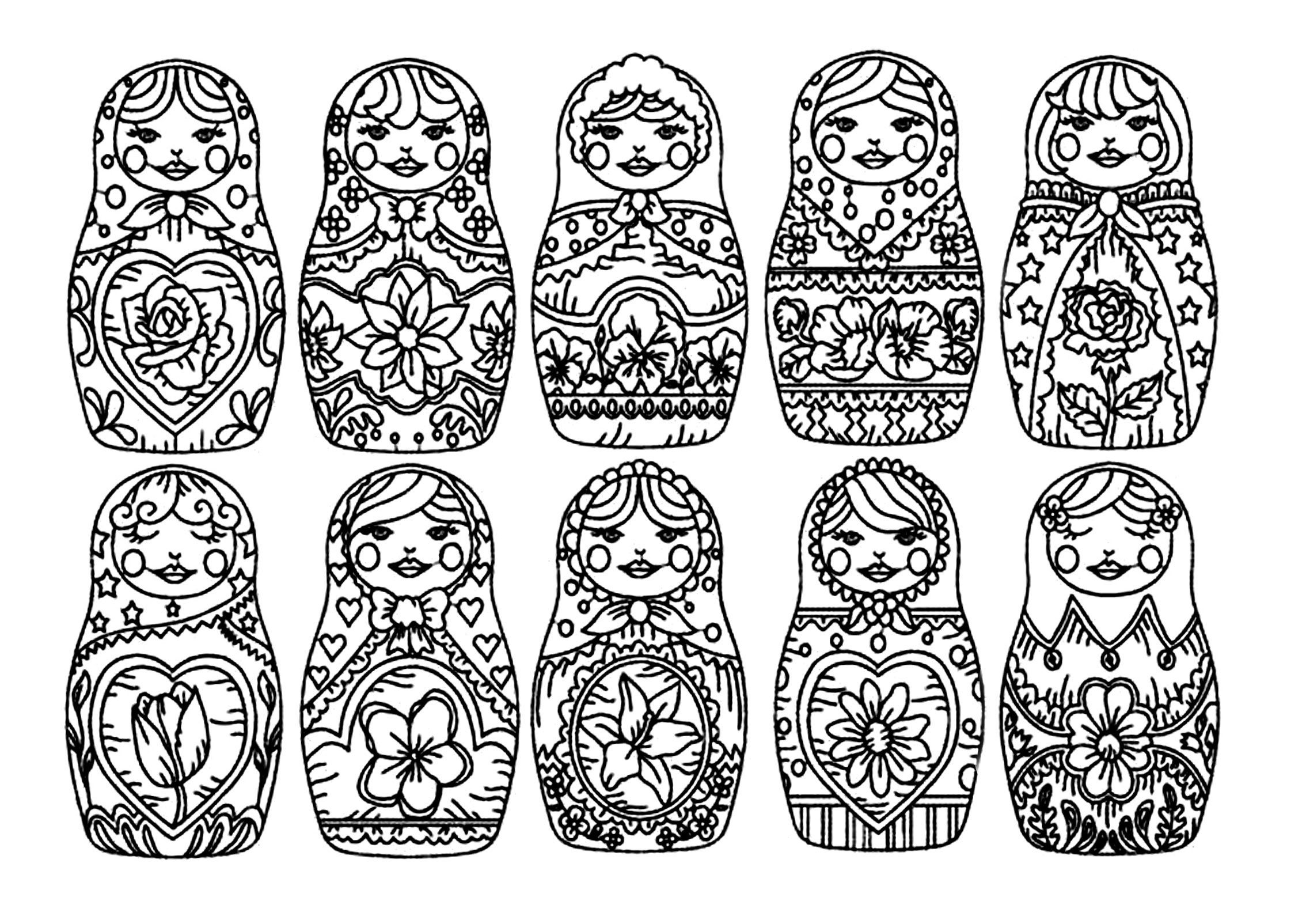 Russian Christmas Coloring Pages With Refrence Dolls 1