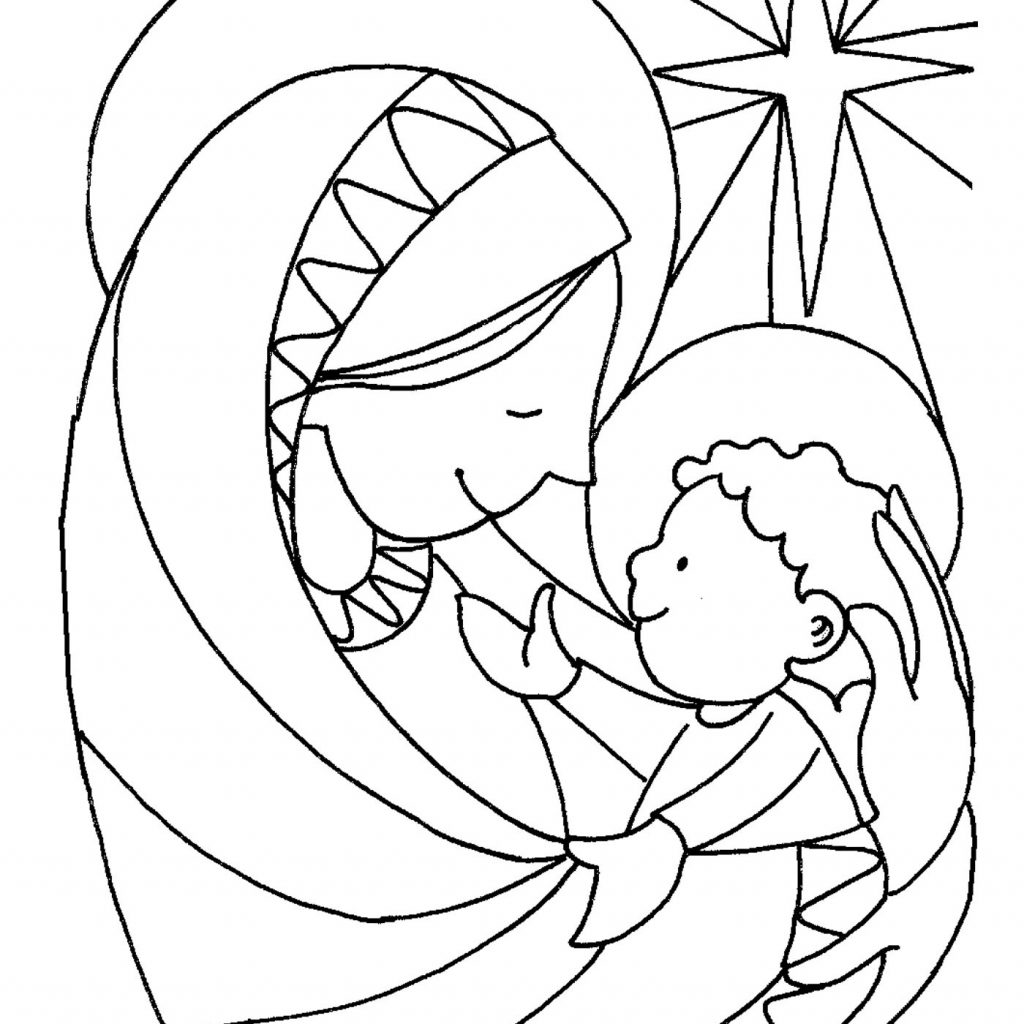 Santa And Baby Jesus Coloring Page With Christmas Pages For Kids Pitara Network