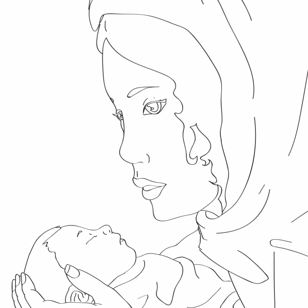 Santa And Baby Jesus Coloring Page With Mary