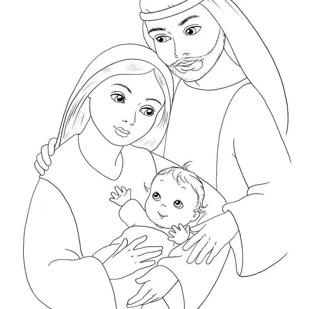Santa And Baby Jesus Coloring Page With Mary Joseph Sunday School Pages
