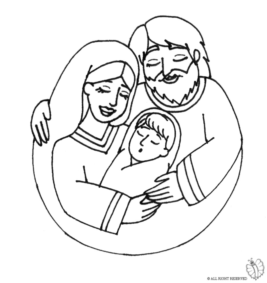Santa And Baby Jesus Coloring Page With Of Mary Joseph For Kids