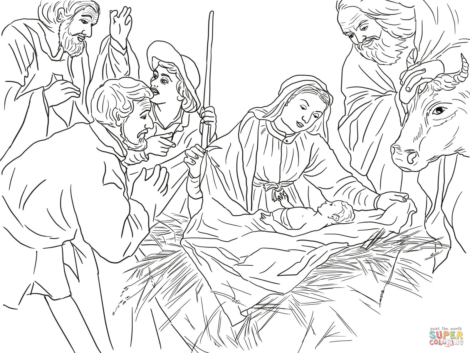 Santa And Baby Jesus Coloring Page With Shepherds Come To See Free Printable
