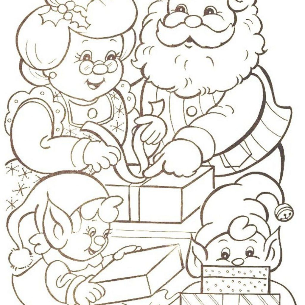 Santa And His Elves Coloring Pages With