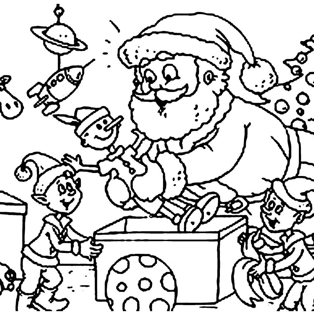 Santa And His Elves Coloring Pages With Christmas Elf Printable Free Books