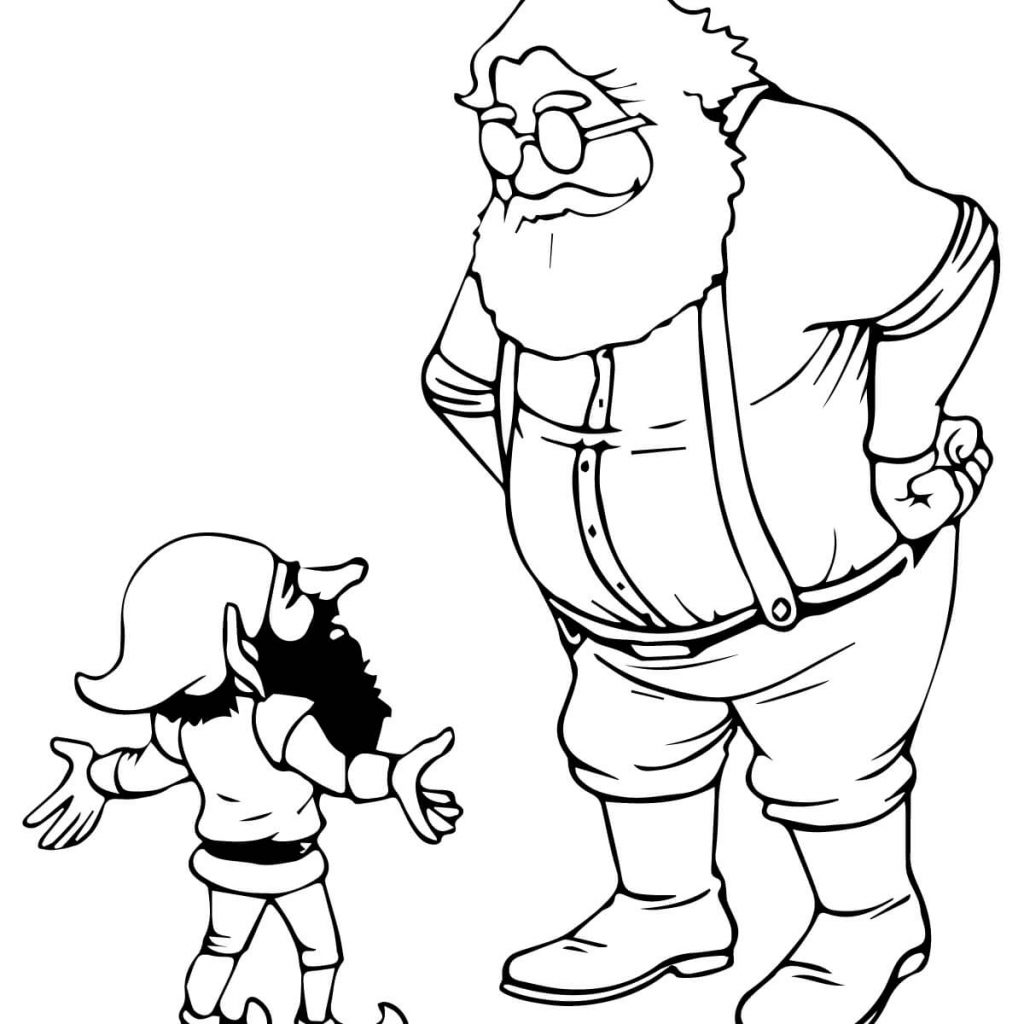 Santa And His Elves Coloring Pages With Christmas Free