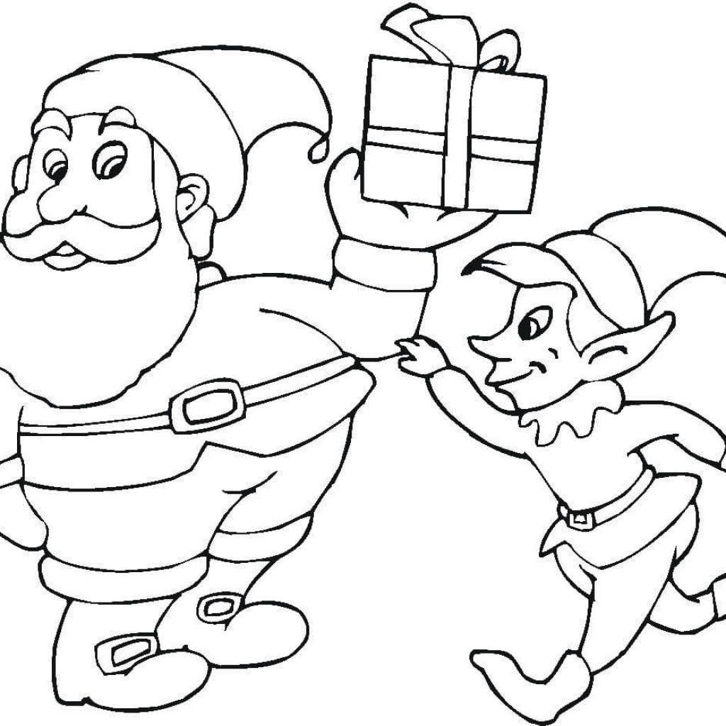 Santa And His Elves Coloring Pages With Elf Page Free Printable