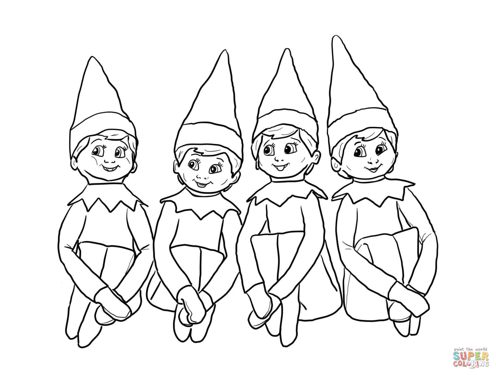 Santa And His Elves Coloring Pages With Elf Sheets 2 6 Wordsare Me