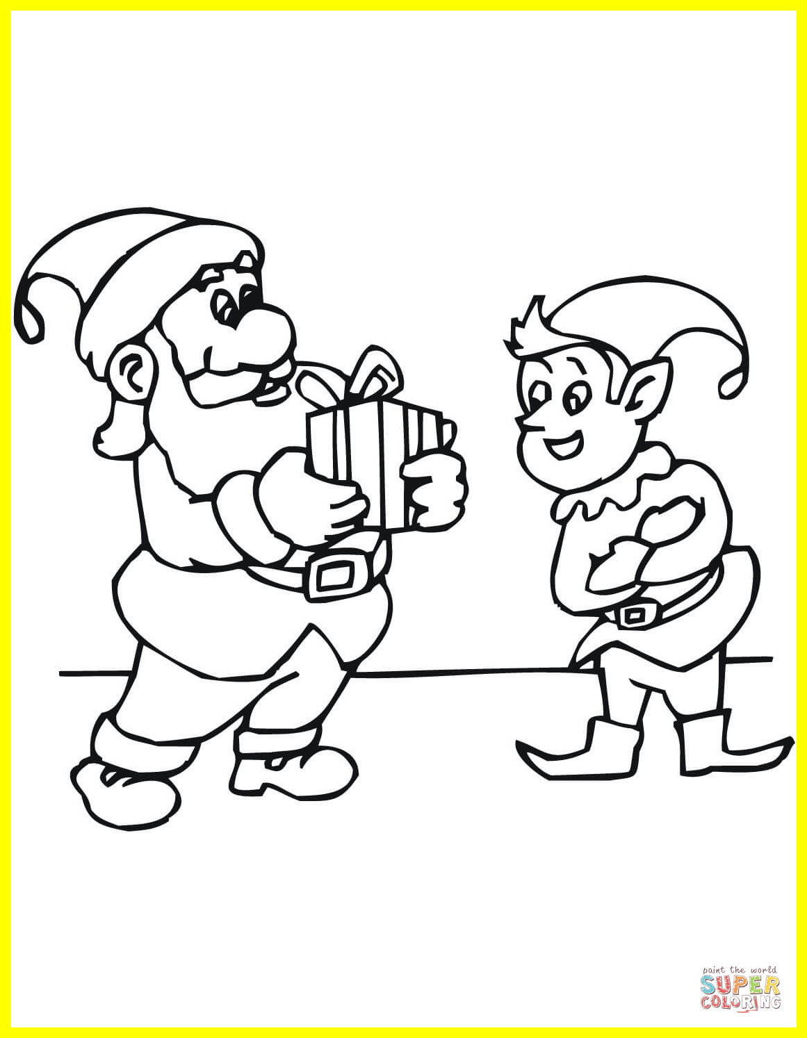 Santa And His Elves Coloring Pages With Santas Cleanup Page Sheet Christmas