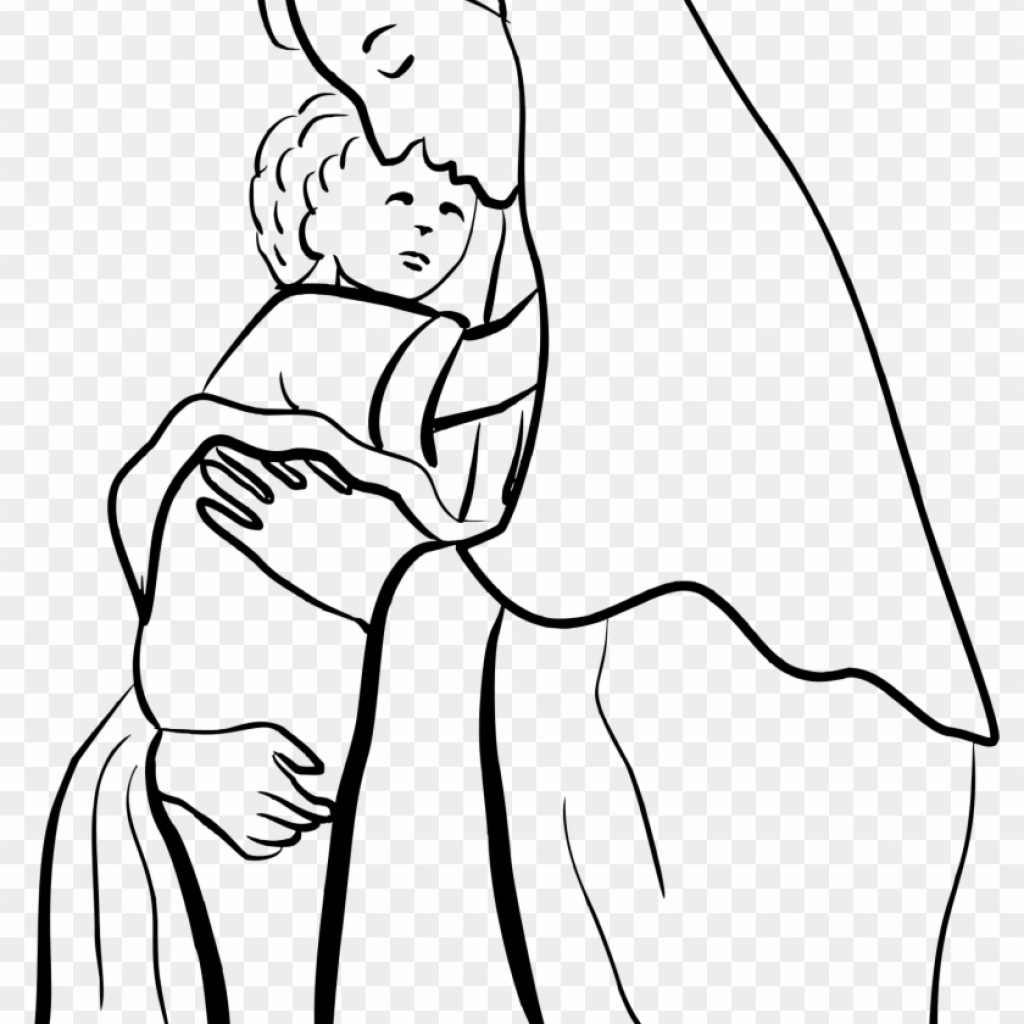 Santa And Jesus Coloring Pages With Clipart Mary Page Free Transparent PNG