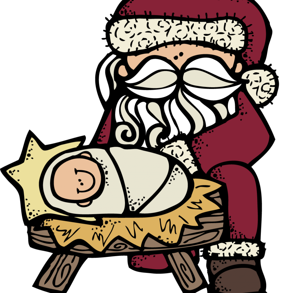 Santa And Jesus Coloring Pages With Free Christmas Pictures Of Baby Download Clip Art