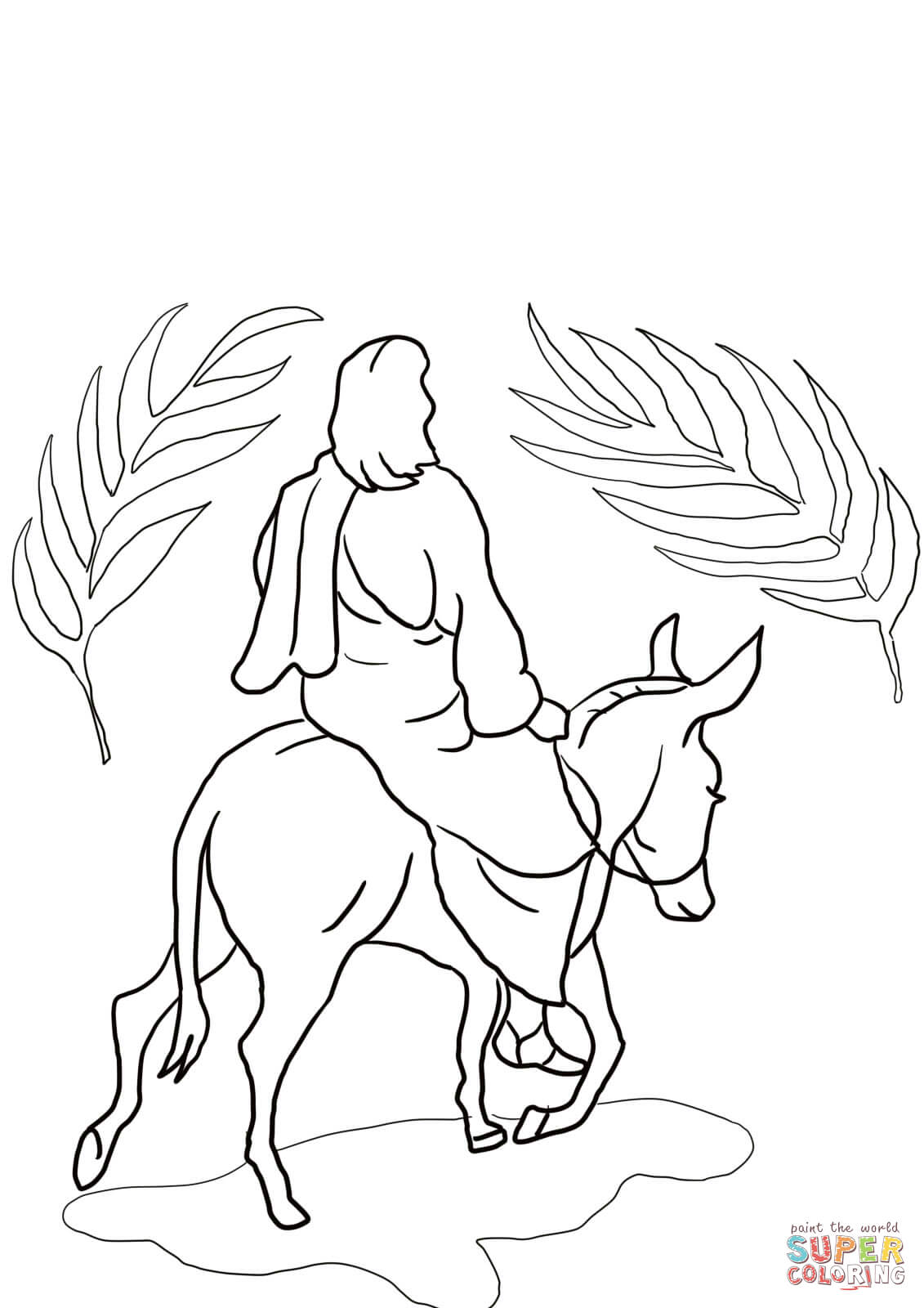 Santa And Jesus Coloring Pages With Riding On A Donkey Page Free Printable