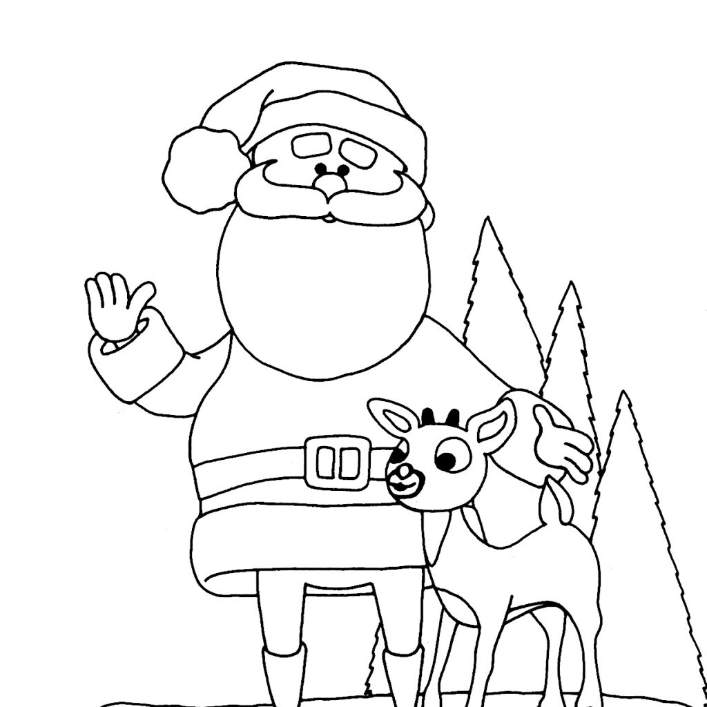 Santa And Reindeer Coloring Pages Free Printable With Awesome Cartoon Claus Design
