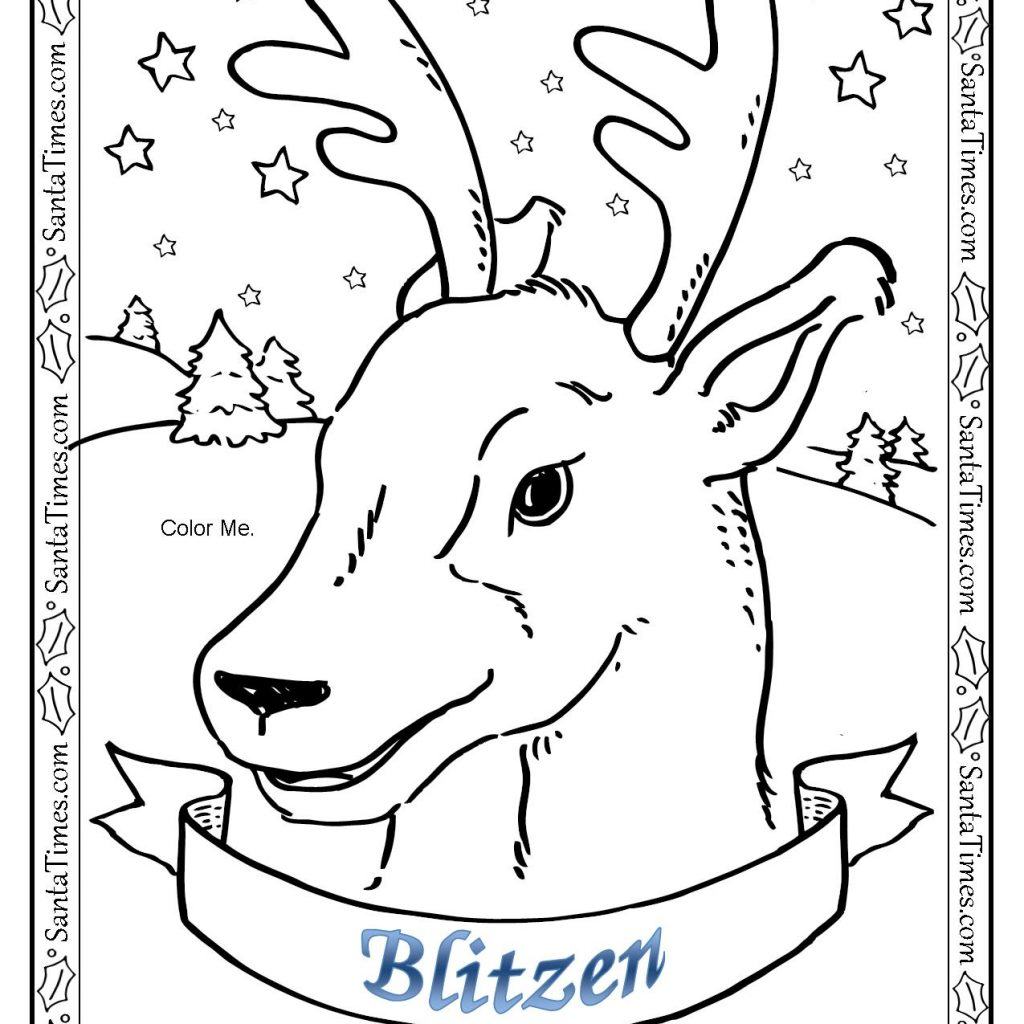 Santa And Reindeer Coloring Pages Free Printable With Blitzen The